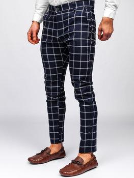 Granatowe spodnie materiałowe chinosy w kratę męskie Denley 0002