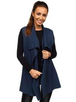 Granatowy kardigan sweter damski bez rękawów Denley AL0220l
