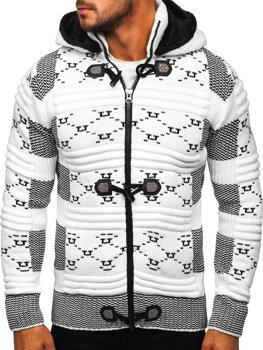 Gruby biały rozpinany sweter męski z kapturem kurtka Denley 2059