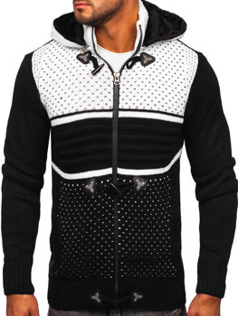 Gruby czarny rozpinany sweter męski z kapturem kurtka Denley 2047
