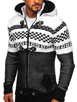 Gruby czarny rozpinany sweter męski z kapturem kurtka Denley 2061