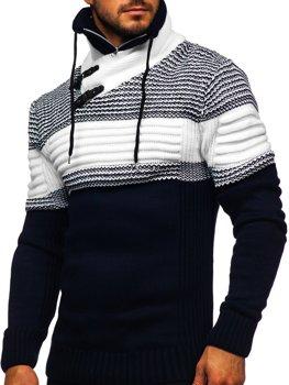 Gruby granatowy sweter męski ze stójką Denley 2002