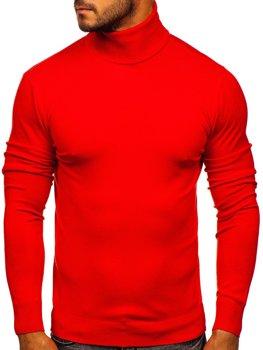 Jasnoczerwony golf sweter męski bez nadruku Denley YY02