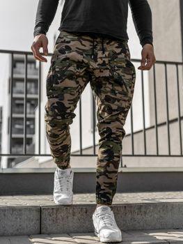 Khaki spodnie joggery męskie Denley 0956