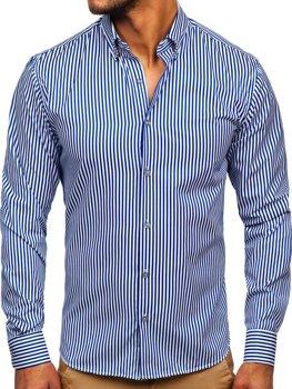 Kobaltowa koszula męska w paski z długim rękawem Bolf 20726