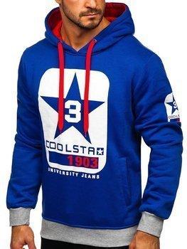 Kobaltowa z nadrukiem bluza męska z kapturem Denley Y10001