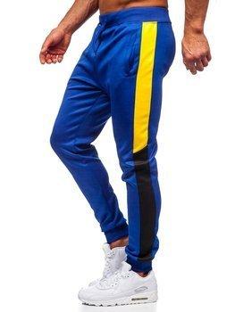 Kobaltowe dresowe spodnie męskie Denley JK99120