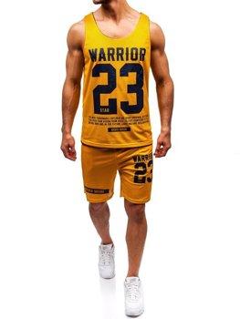 Komplet męski t-shirt + spodenki Denley żółty 100778