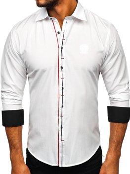 Koszula męska elegancka z długim rękawem biała Bolf 1769-A