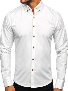 Koszula męska elegancka z długim rękawem biała Bolf 6964