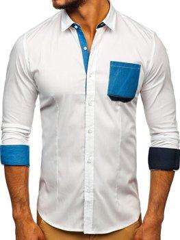 5c6eca2fb55b Koszula męska elegancka z długim rękawem biała Denley 7192