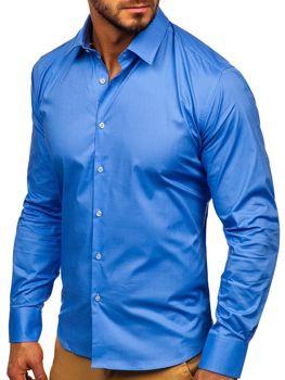 Koszula męska elegancka z długim rękawem błękitna Denley TS50