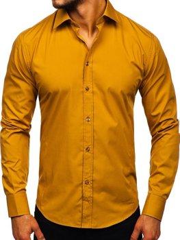 Koszula męska elegancka z długim rękawem camelowa Bolf 1703