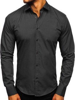 Koszula męska elegancka z długim rękawem czarna Bolf 1703