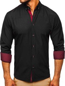 Koszula męska elegancka z długim rękawem czarno-bordowa Bolf 5722-1