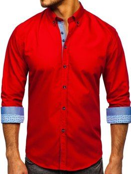 Koszula męska elegancka z długim rękawem czerwona Bolf 8838-1