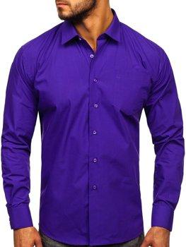 Koszula męska elegancka z długim rękawem fioletowa Denley 0003
