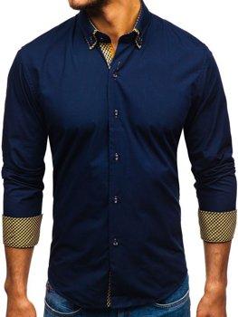 Koszula męska elegancka z długim rękawem granatowa Bolf 4708