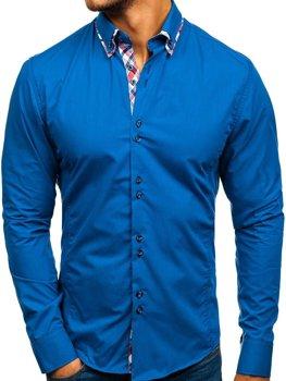 Koszula męska elegancka z długim rękawem niebieska Bolf 4704-1
