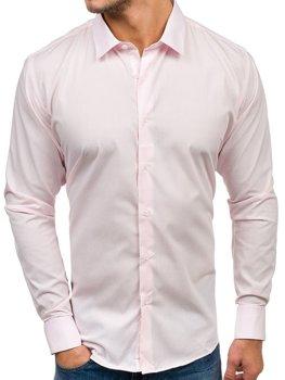 9aaab03475df Koszula męska elegancka z długim rękawem różowa Denley TS100