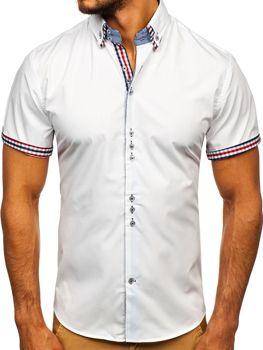 Koszula męska elegancka z krótkim rękawem biała Bolf 3507