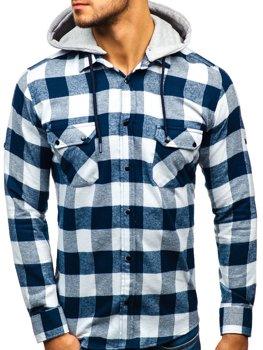 Koszula męska flanelowa z długim rękawem granatowo-biała Denley 1031