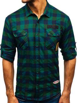 Koszula męska flanelowa z długim rękawem khaki Denley 2503
