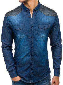 Koszula męska jeansowa we wzory z długim rękawem granatowa Denley 0517-1