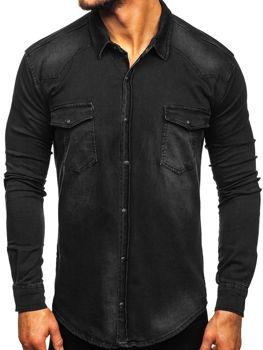 Koszula męska jeansowa z długim rękawem czarna Denley 2063