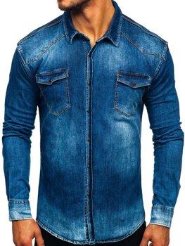 Koszula męska jeansowa z długim rękawem granatowa Denley 2063