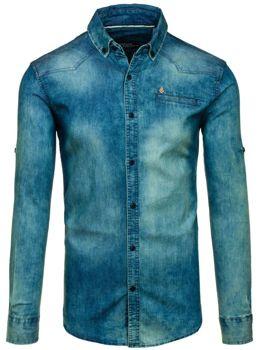 Koszula męska jeansowa z długim rękawem granatowo-szara Denley 0321-1