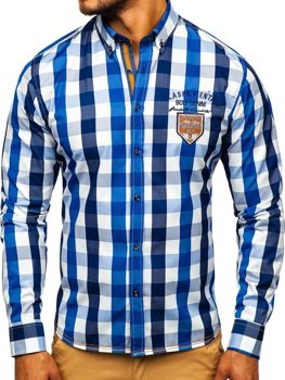Koszula męska w kratę z długim rękawem niebieska Bolf 1766-1
