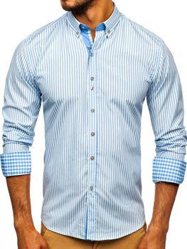 Koszula męska w paski z długim rękawem błękitna Bolf 9711