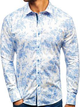 Koszula męska we wzory z długim rękawem biało-niebieska 470G16