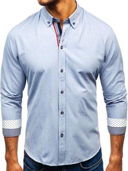 Koszula męska we wzory z długim rękawem szara Bolf 8843