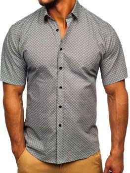 Koszula męska we wzory z krótkim rękawem szara Denley TSK101