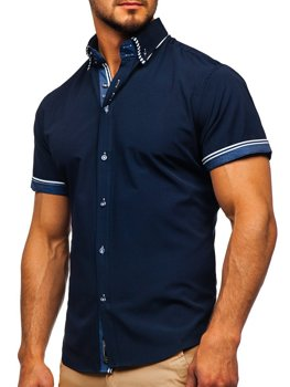 Koszula męska z krótkim rękawem granatowa Bolf 2911-1