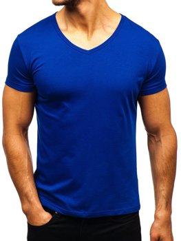 Koszulka męska bez nadruku w serek chabrowa Denley AK888A
