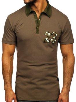 Koszulka polo męska khaki Denley 2058