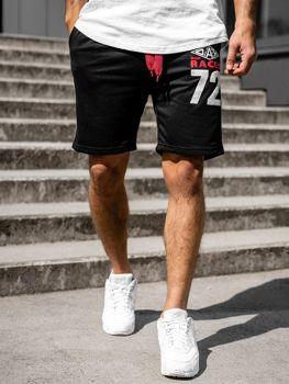 Krótkie spodenki dresowe męskie czarne Denley EX05