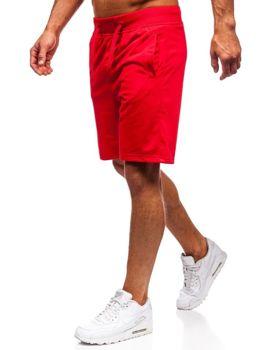 Krótkie spodenki dresowe męskie czerwone Denley AA10-A