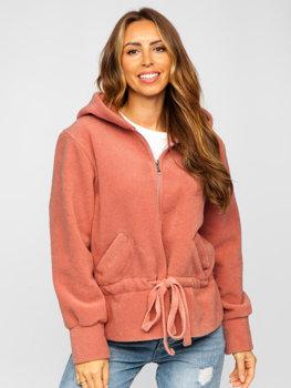 Kurtka damska krótki płaszcz z kapturem różowa Denley 9320