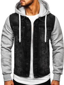 Kurtka jeansowa męska z kapturem czarna Denley 211902