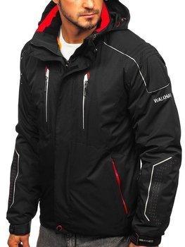 Kurtka męska zimowa narciarska czarno-czerwona Denley A5624