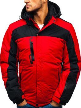 Kurtka męska zimowa narciarska czerwona Denley HZ8112