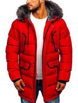 Kurtka męska zimowa parka czerwona Denley 1091