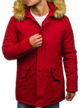 Kurtka męska zimowa parka czerwona Denley YT303