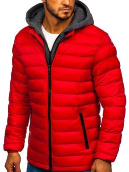 Kurtka męska zimowa sportowa pikowana czerwona Denley JP1102