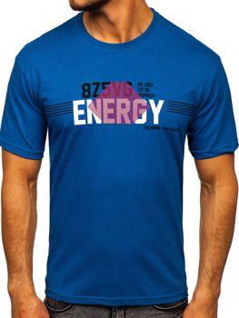 Niebieski T-shirt męski z nadrukiem Denley 14333