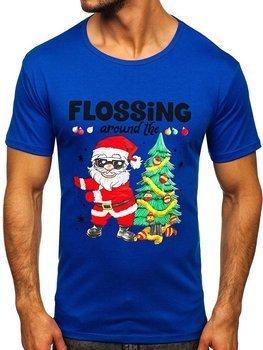 Niebieski T-shirt męski ze świątecznym nadrukiem Denley KS2510